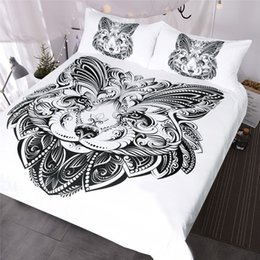 Mint green bedding sets online shopping - Lion Bedding Set Queen Black and White Duvet Cover Animal Home Textiles Piece Butterfly Shape Face Printed Bed Set