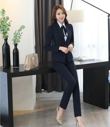 black formal jackets women 2019 - Fall Winter Black Blazer Women Business Suits Formal Business Suits Work Pant and Jacket Sets Office Uniform Design disc