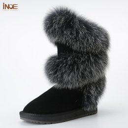 boots real fox 2020 - new style fashion real fox fur women high winter flats snow boots cow suede leather winter shoes black grey high quality