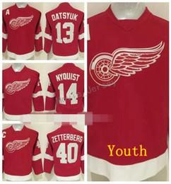 Child hoCkey jersey online shopping - Detroit Red Wings Youth Jerseys Henrik Zetterberg Pavel Datsyuk Gustav Nyquisi Children Ice Hockey Jerseys Red Black Green White
