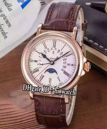 Watches complications online shopping - New Colors Complications R Complex Function Rose Gold Silver Dial Moon Phase Swiss Quartz Mens Watch Brown Leather Strap P262b2