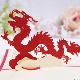 100mm150mm 3d chinese dragon best wishes happy greeting cards christmas card new year greeting card diy gift