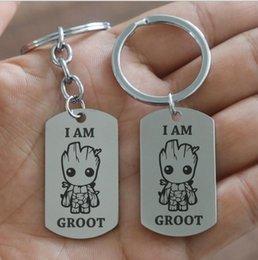 Chaveiro Groot Filme Guardiões da Galáxia Bonito Chaveiros Alta Polido Logotipo Gravura A Laser de Aço Inoxidável Groot Atacado ..