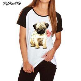 2e73557b3 Women's Rose Mini Schnauzer Print T shirt Cute Animal Pug Dog Design Cotton  T-shirt Woman Ladies Tshirt Raglan Sleeve Big Size