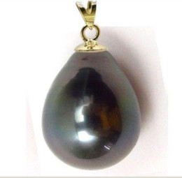 $enCountryForm.capitalKeyWord NZ - HUGE 12-14MM NATURAL SOUTH SEA GENUINE BLACK PEARL PENDANT 14K YELLOW GOLD