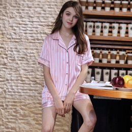 SSH0217 Satin Silk Pajamas Women Sexy Short Sleeves Summer Pajama Sets  Female Pyjama Set Ladies Striped Silk Sleepwear Nightwear 582cdb88c