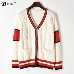 2018 New Runway Winter Cardigan Fashion Twist Knitted Sweater Women Vintage Red  Stripes V-neck Long Sleeve Casual Jumper Jacket c6421addf