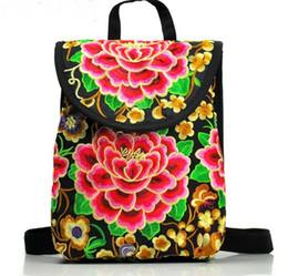 $enCountryForm.capitalKeyWord Australia - Red Peony Embroidered Women mini backpacks school bags Canvas girls female travel Backpacks back packs