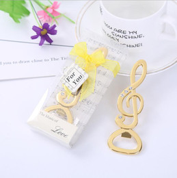 Discount presents wine - 10pcs  lot Gold Silver Musical Note Wine Bottle Opener Wedding Favors Party Giveaway Gift Present for Guest
