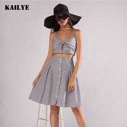 781aaee9c6c New Short Crop Top And Skirt Set 2018 Summer Striped Female Clothing Sling  Vest Two Piece Costume Backless Sexy Women s Suit