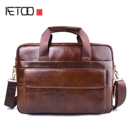 5686454d659 AETOO New Men Briefcases Genuine Leather Handbag Vintage 15  Laptop  Briefcase Messenger Shoulder Bags Men s Bag