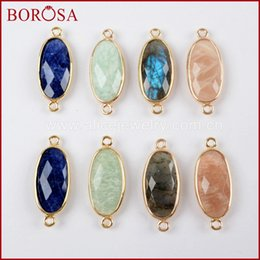 Micro Pave Connectors Australia - BOROSA 10PCS CZ Micro Pave Oval Gems Multi-kind Faceted Stones Drusy Amazonite Gold Connectors for Charms Bracelets WX971