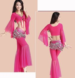 black women belly shirt Canada - Cheap Belly dance shirt+pants+hip scarf+bra four clothing set suit new practice dancing exercise clothes set mesh yarn performance clothing
