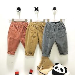 86a2817eb Korean style Autumn winter boys girls fashion all-match corduroy pants kids  pockets soft trousers 2-6 years children harem