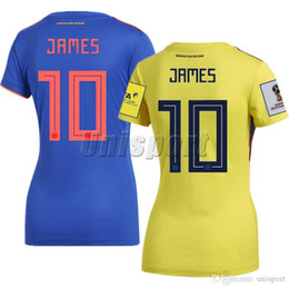 b6aef56e7 2018 World Cup Colombia Home Away Female Women Soccer Jerseys 2018 2019  James Falcao Futbol Camisa Camisetas Shirt Kit Maillot