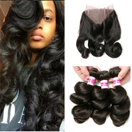 $enCountryForm.capitalKeyWord NZ - Ruma Hair Loose Wave 3 Human Hair Bundles With Closure 360 Lace Frontal With Bundle 4 Pcs Brazilian Hair Weave Bundles With Closure