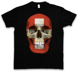 Tee Cotton Australia - Classic Suisse Skull Flag T-Shirt Totenkopf Schädel Banner Fahne Schweiz Biker Tees Shirt Men Premium Short Sleeve Cotton Custom 3XL Men's C