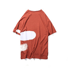 oversized long t shirts UK - Printed Casual Men O-neck Oversized T-shirt hip-hop High Street front Short back long men Cotton short sleeve t shirts