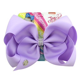 Chinese  JOJO SIWA 20cm LARGE Rainbow Rhinestone Signature HAIR BOW with card and sequin logo baby girl Children Hair Accessories fashion hair clip manufacturers