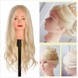 China Hot sale 40 % Real Human Hair 60 cm Training Head For Salon Hairdressing Mannequin Dolls professional styling head can be curled cheap real hair training head mannequin suppliers