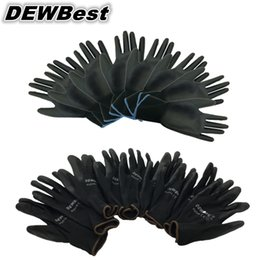 $enCountryForm.capitalKeyWord Australia - wholesale DEWBest guantes trabajo 24pcs=12pair New Work Safety Gloves Nylon Knitted Gloves With PU Coated For Gardener D18110705