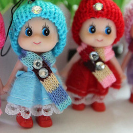 girls doll confused NZ - New Kids 8cm Hat Scarf Dolls Toys Confused Dolls Soft Interactive Baby Clown Dolls Toy Girls Mini Doll Pendant for Sale