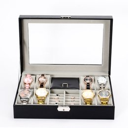 lockable boxes NZ - Jewelry Box 8 Slot Watch Box Jewelry Necklace Ring Organizer Lockable Jewelry Display Case With Glass Top Black PU Leather Box H255F