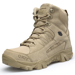army combat boots men 2019 - Winter Autumn Men Military Boots Quality Special Force Tactical Desert Combat Ankle Boats Army Work Shoes Leather Snow B