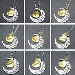 uncle jewelry 2019 - I Love You To The Moon And Back Heart Pendant Necklace aunt mom dad grandpa sister son uncle family jewelry mother'
