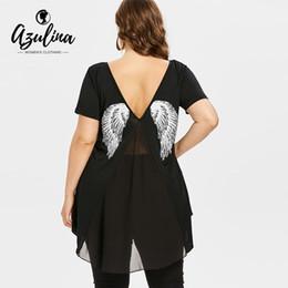 $enCountryForm.capitalKeyWord Canada - AZULINA Plus Size Wing Print High Low T-Shirt Summer V-Neck Short Sleeve Long Tops T Shirt Women Causal Shirt Big Size Clothing