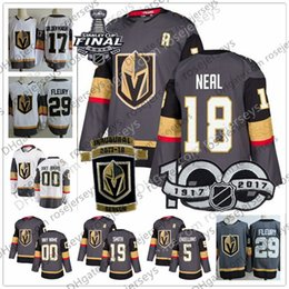9cc63bb1950 Vegas Golden Knights #18 James Neal 75 Ryan Reaves 5 Deryk Engelland 19  Reilly Smith Gray White 2018 Stanley Cup Inaugural Hockey Jerseys