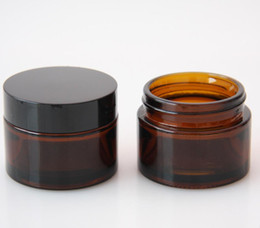 skin cream bottles glass 2020 - High quality 100 x 50g amber glass jars, 50ml cream jars, skin care cream bottles Wholesale discount skin cream bottles