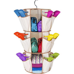 $enCountryForm.capitalKeyWord UK - 3-Tiers Multi Pocket Hanging Smart Carousel Organizer Shoe Rack Handbag Storage Bag Organizer Holder Hosekeeping Accessories 50pcs