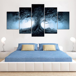 Art Canvas Prints Australia - Modern Frames For Paintings 5 Panel Tree Landscape Decorative Canvas Art Prints Wall Picture For Home Decor Painting Kids Room
