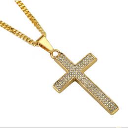 $enCountryForm.capitalKeyWord NZ - Fashion Hip Hop Men Cross Pendant Necklace Jewelry For Rhinestone Design American Star Popular Micro Rock Rap Men Necklaces