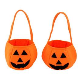Discount spring carnival - Kids Halloween supplies portable pumpkin bag non woven pumpkin bags three dimensional pumpkin bag candy bag child toys w