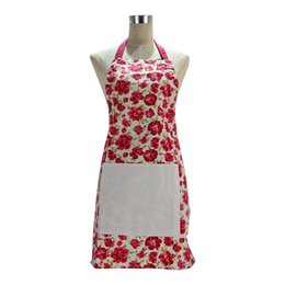 Wholesale KA008 Plain apron with front pocket Pc Sleeveless Checked Floral Rose Polka Dot Women Lady Apron For Kitchen Cooking
