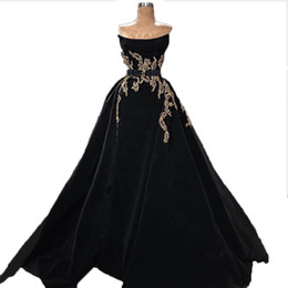 velvet evening UK - Evening Dresses 2018 Formal Evening Dress Strapless Sashes Golden Beaded Prom Dress Black Velvet Ball Gown Sweep Train Evening Dresses
