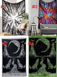 hang curtain wall 2019 - Night Sky Wall Tapestry Home Decorations Wall Hanging Cloth Forest Starry Tress Tapestries For Living Room Bedroom Polye