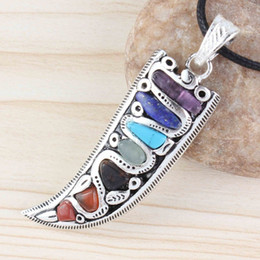 $enCountryForm.capitalKeyWord Australia - Kraft-beads Unique Silver Plated 7 Color Stones Horn Shape Healing Chakra Pendant Charm Jewelry