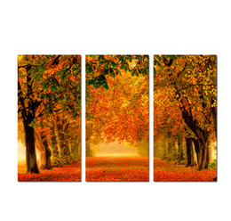 $enCountryForm.capitalKeyWord UK - Large 3 Panel Golden autumn Maple Landscape Painting Canvas Print Wall Art Picture Modern Home Decor For Living Room Decoration SetA14