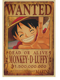 Chinese  1 pcs Home Decor Wall Stickers Vintage Paper Anime Poster One Piece Posters Luffy Wanted manufacturers