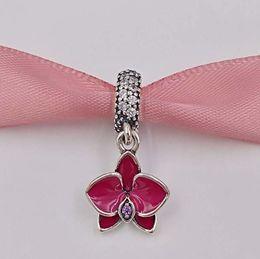EnamEl zodiac charms online shopping - Spring Silver Beads Orchid Silver Pendant Charm with enamel Fits European Pandora Style Jewelry Bracelets Necklace EN69