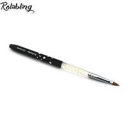 Kolinsky Nail Art Brushes UK - Rolabling 2# black Professional Kolinsky Sable Brush Sable Acrylic Nail APen Nail Brushes nail art pen brush