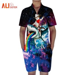 5daaf534163 2018 New Design Men Romper Fashion 3d Funny Cat Anime Print Short Sleeve  Jumpsuit Male Casual Beach Party One-Piece Rompers