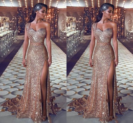 Wholesale dress one shoulder roses for sale – plus size 2019 Sparkly Sequined Gold Prom Dresses One Shoulder Sequins Sheath Rose Gold Split Sweep Train Plus Size Formal Evening Gowns Pageant Wear