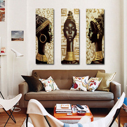 classical paintings women NZ - Beauty Egyptian black Women Modular Unframed 3 Panel Wall Canvas Painting Art Print Poster Picture Wall Decoration