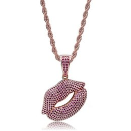 lip pendants Australia - Sexy Lips Pendant Necklace Gold Plated Brass Inlaid Purple Cubic Zirconia Pendant 60cm Stainless Steel Chain