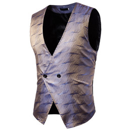 Discount men waistcoat double - 18 new stylish dark print design front and rear body features spliced solid color men's waistcoat Double-breasted m