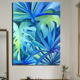 tropical paintings NZ - Wall Decor Artwork Painting Tropical Rainforest Oil Painting on Canvas Wall Pictures for Living Room Office Home Hotel No Framed